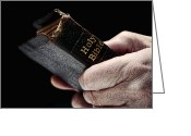 Protestant Greeting Cards - Man Hands Holding Old Bible Greeting Card by Olivier Le Queinec