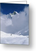 Hikers And Hiking Photo Greeting Cards - Man Hiking Down From Annapurna Base Greeting Card by Skip Brown