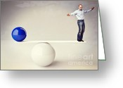 Equilibrium Greeting Cards - Man In Balance Greeting Card by Gualtiero Boffi