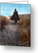 Edwardian Greeting Cards - Man in Cape and Top Hat by the Sea Greeting Card by Jill Battaglia