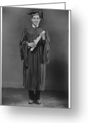 Young Men Greeting Cards - Man  In Graduation Gown Posing In Studio, (b&w), Portrait Greeting Card by George Marks