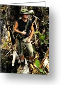 Netting Digital Art Greeting Cards - Man in the wilderness Greeting Card by David Lee Thompson