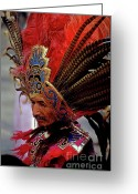Religious Icon Greeting Cards - Man in traditional headdress to celebrate the Day of the Virgin of Guadalupe on December 12th in Mexico City Greeting Card by Sami Sarkis