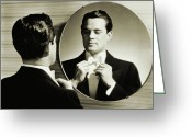 Black Tie Greeting Cards - Man In Tuxedo Adjusting His Bowtie (1940) Greeting Card by Archive Holdings Inc.