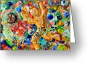 Color  Colorful Sculpture Greeting Cards - Man  Kicking  An  Encaustic  Ball Greeting Card by Carl Deaville