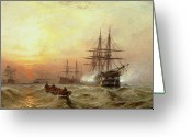 Sunset Scenes. Painting Greeting Cards - Man-o-War firing a salute at sunset Greeting Card by Claude T Stanfield Moore