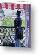 Hand On Hip Greeting Cards - Man on a balcony on Boulevard Haussmann Greeting Card by Gustave Caillebotte