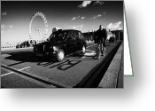 Red Lines Greeting Cards - Man On Hired Cycle Being Overtaken By Black London Cab Taxi On Westminster Bridge Greeting Card by Joe Fox