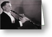 45-49 Years Greeting Cards - Man Playing The Clarinet, 1950s Greeting Card by Archive Holdings Inc.