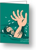 Reaching Greeting Cards - Man Reaching for Help Drowning Greeting Card by Aloysius Patrimonio