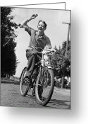 Young Men Greeting Cards - Man Riding Bicycle, Waving, (b&w) Greeting Card by George Marks