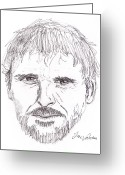 Portrait Poster Greeting Cards - Man Staring Greeting Card by Jose Valeriano