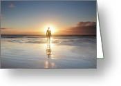Adults Only Greeting Cards - Man Walking On Beach At Sunset Greeting Card by Stu Meech