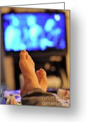 Laziness Greeting Cards - Man watching television feet up Greeting Card by Sami Sarkis