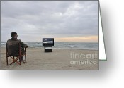 Chin On Hand Greeting Cards - Man watching TV on beach at sunset Greeting Card by Sami Sarkis