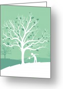 Grow On Trees Greeting Cards - Man Watering Money Tree Greeting Card by Jimena Catalina Gayo