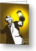 Shine Greeting Cards - Man Wearing Top hat And Holding Lantern Greeting Card by Aloysius Patrimonio