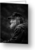 Thinking Greeting Cards - Man With A Beard Greeting Card by Bob Orsillo