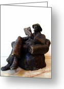 Bronze Sculpture Greeting Cards - Man with book Greeting Card by Nikola Litchkov