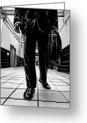 Man Drawings Greeting Cards - Man With Briefcase Greeting Card by Giuseppe Cristiano