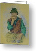 Retro Pastels Greeting Cards - Man with harmonica Greeting Card by Katerina Novotna
