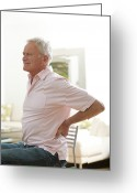 Hand On Hip Greeting Cards - Man With Lower Back Pain Greeting Card by