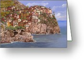 Usa Painting Greeting Cards - Manarola   Greeting Card by Guido Borelli