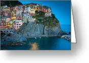 Terraces Greeting Cards - Manarola Sera Greeting Card by Inge Johnsson