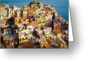 Terraces Greeting Cards - Manarola Town Greeting Card by Inge Johnsson