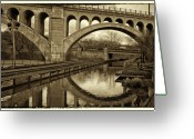 Philadelphia Greeting Cards - Manayunk Bridge Reflection Greeting Card by Jack Paolini