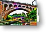 Philadelphia Greeting Cards - Manayunk Canal and Bridge Greeting Card by Bill Cannon