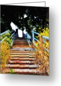 Philadelphia Greeting Cards - Manayunk Steps Greeting Card by Bill Cannon
