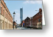 Soccer Sport Greeting Cards - Manchester - Beetham Tower Greeting Card by Hristo Hristov