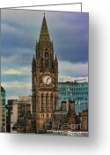 Manchester Greeting Cards - Manchester Town Hall Greeting Card by Heather Applegate