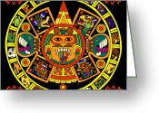 Mayan Mythology Greeting Cards - Mandala Azteca Greeting Card by Roberto Valdes Sanchez
