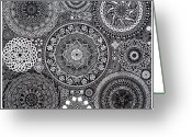 Featured Drawings Greeting Cards - Mandala Bouquet Greeting Card by Matthew Ridgway