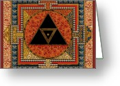 Yantra Greeting Cards - Mandala Kalichakre for HER Greeting Card by Mark Myers