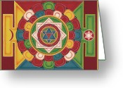 Mantrayana Greeting Cards - Mandala of the 5 Elements Earth-Water-Fire-Air-Space Greeting Card by Carmen Mensink