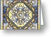 Expressive Drawings Greeting Cards - Mandala of the Sun Greeting Card by Hakon Soreide