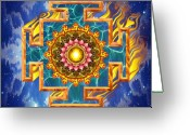 Yantra Greeting Cards - Mandala Shiva Greeting Card by Mark Myers