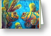 Blue Tapestries - Textiles Greeting Cards - Mandarinfish- Bordered Greeting Card by Sue Duda