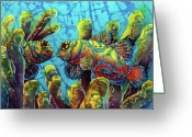 Caribbean Sea Tapestries - Textiles Greeting Cards - Mandarinfish  Greeting Card by Sue Duda