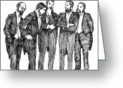 Meeting Drawings Greeting Cards - Mandate Greeting Card by Karl Addison