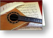 Music Notes Greeting Cards - Mandolin and Partiture Greeting Card by Carlos Caetano