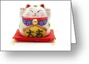 Lucky Greeting Cards - Maneki Neko Greeting Card by Fabrizio Troiani