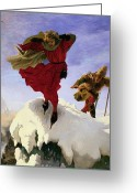 Distraught Greeting Cards - Manfred on the Jungfrau Greeting Card by Ford madox Brown