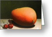 Mango Greeting Cards - Mango and cherries Greeting Card by Ningning Li