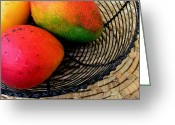 Hawaiian Food Greeting Cards - Mango in a Black Wire Basket Greeting Card by James Temple