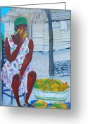 Mango Greeting Cards - Mango Merchant Woman Greeting Card by Nicole Jean-Louis
