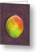 Mango Greeting Cards - Mango on Plum Greeting Card by Steve Asbell
